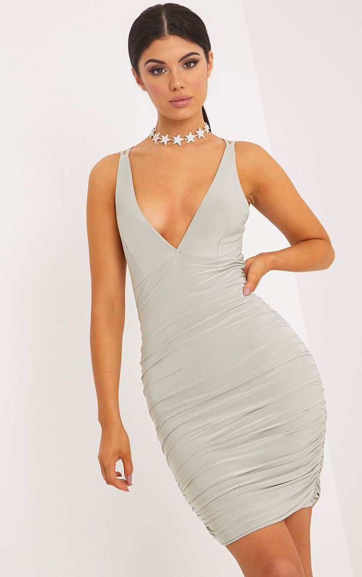 Agness Sage Green Cross Back Ruched Bodycon Dress