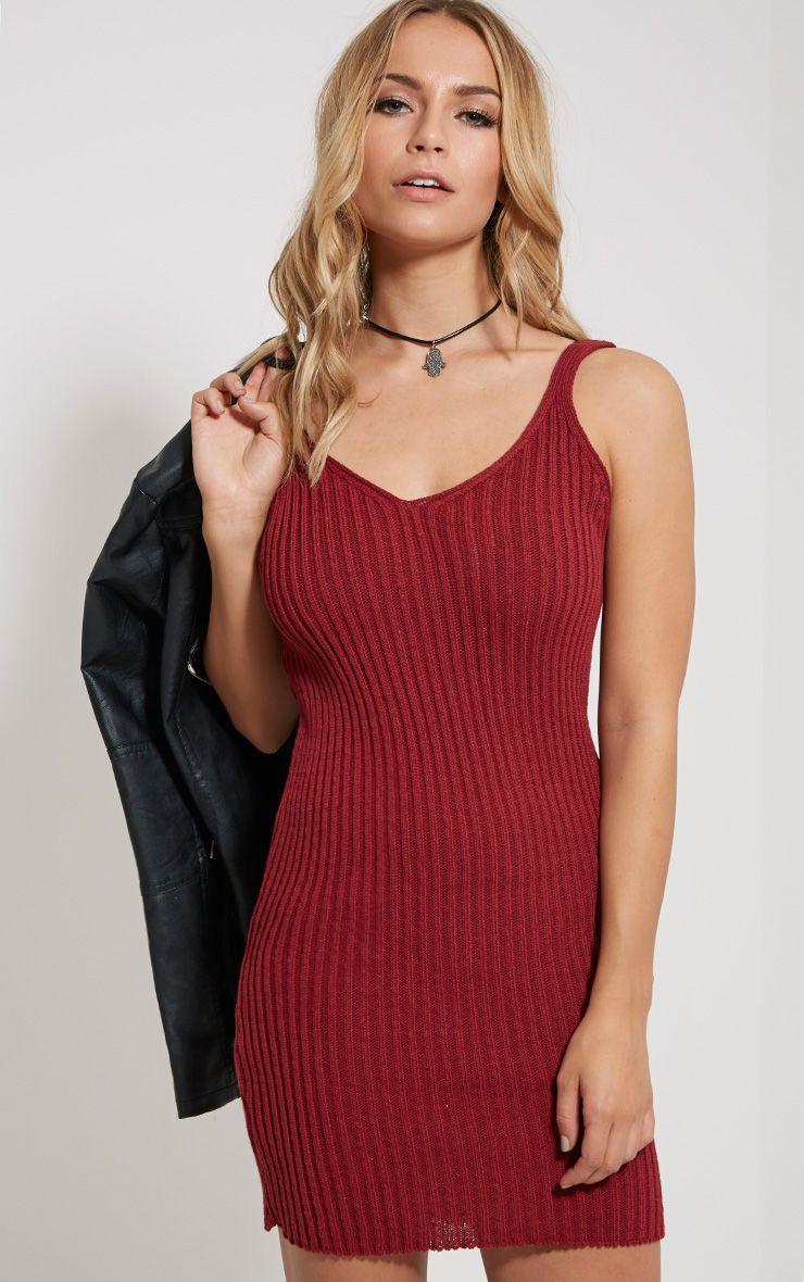 Sabrer Wine Ribbed Knitted V Neck Mini Dress 1