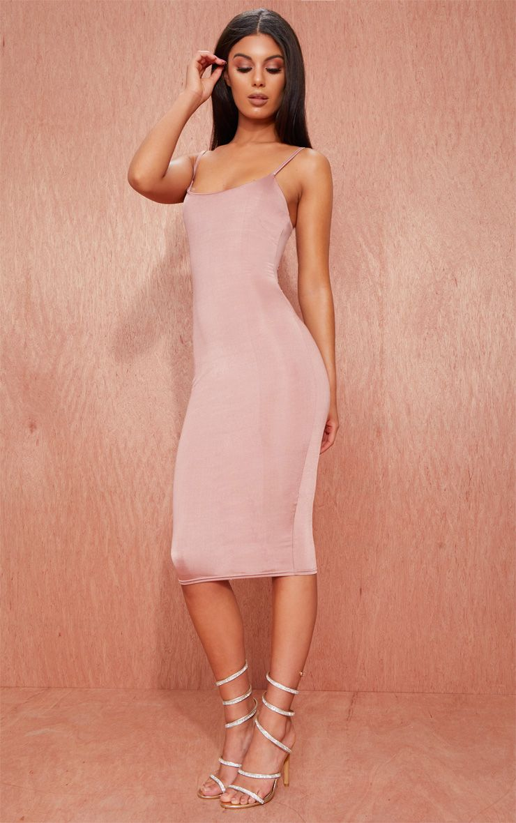 Rose Slinky Spaghetti Strap Midi Dress