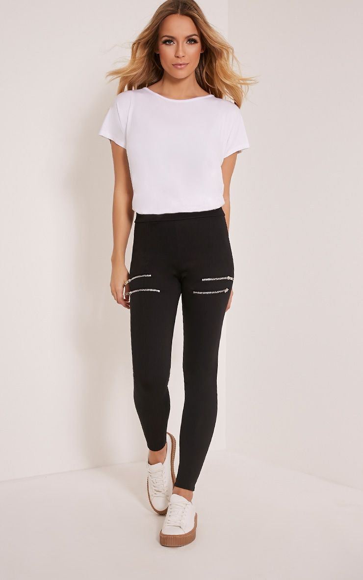 Charlie Black Double Zip Ponte Leggings 1