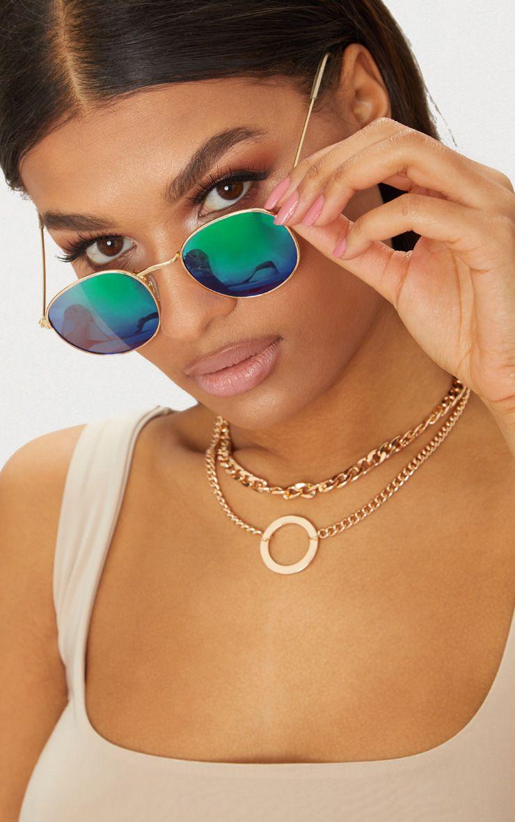 Green Metal Frame Round Retro Sunglasses