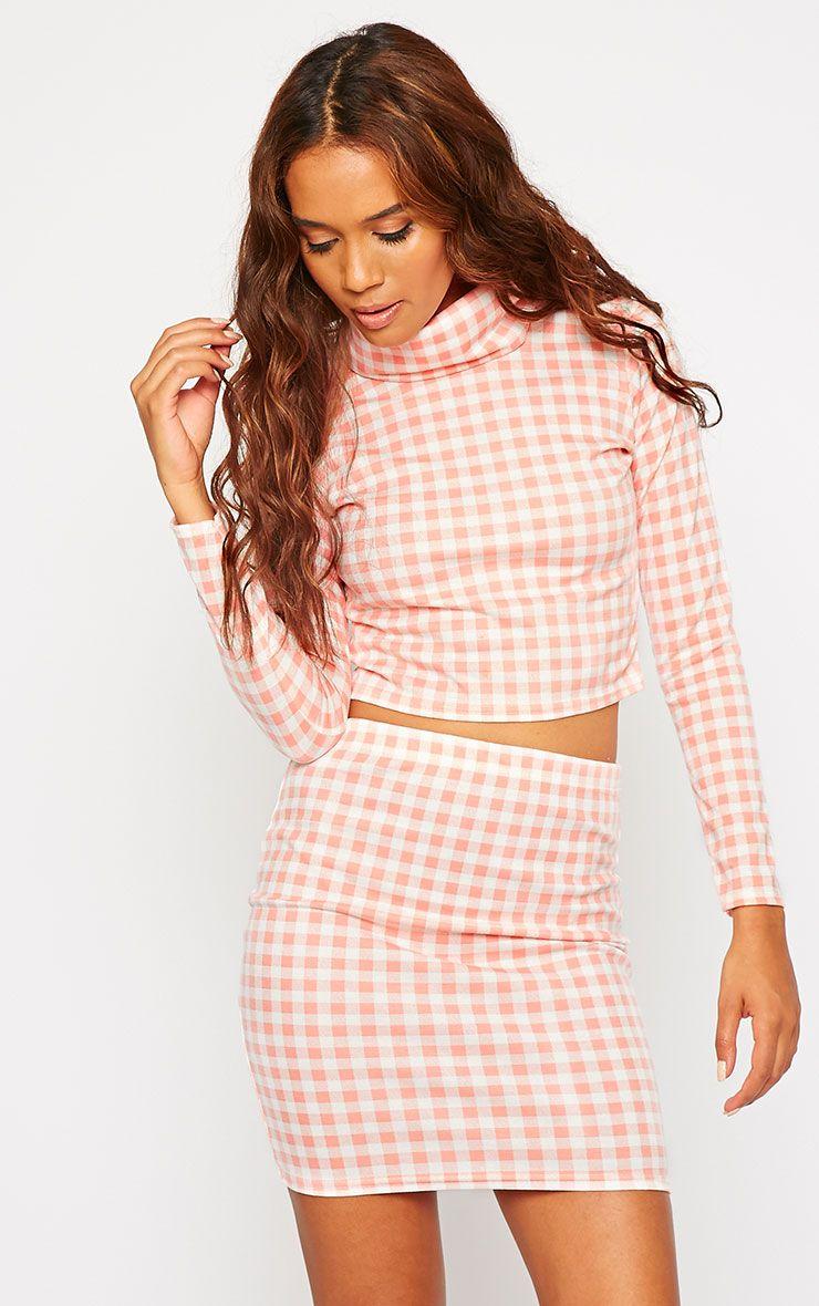 Belle Pink Gingham Roll Neck Crop Top 1