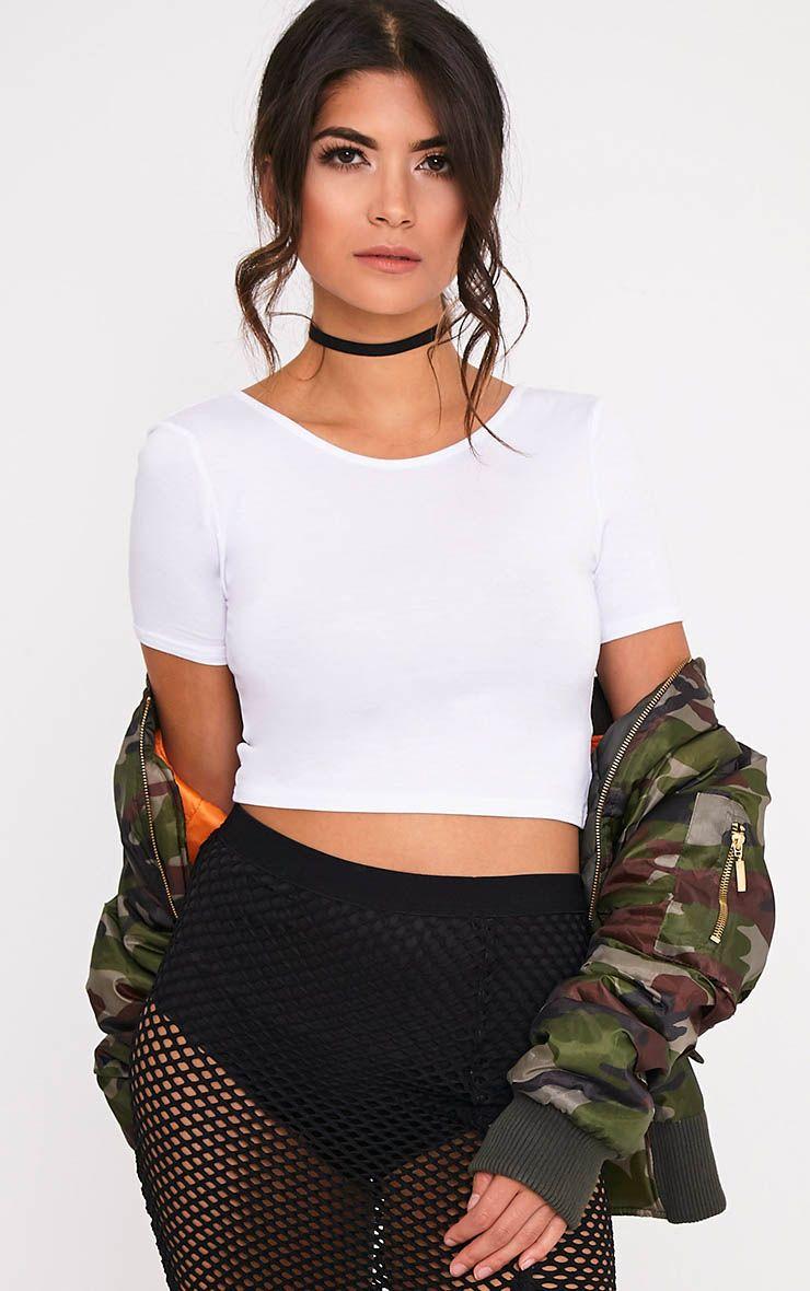 Basic White Scoop Back Crop T Shirt