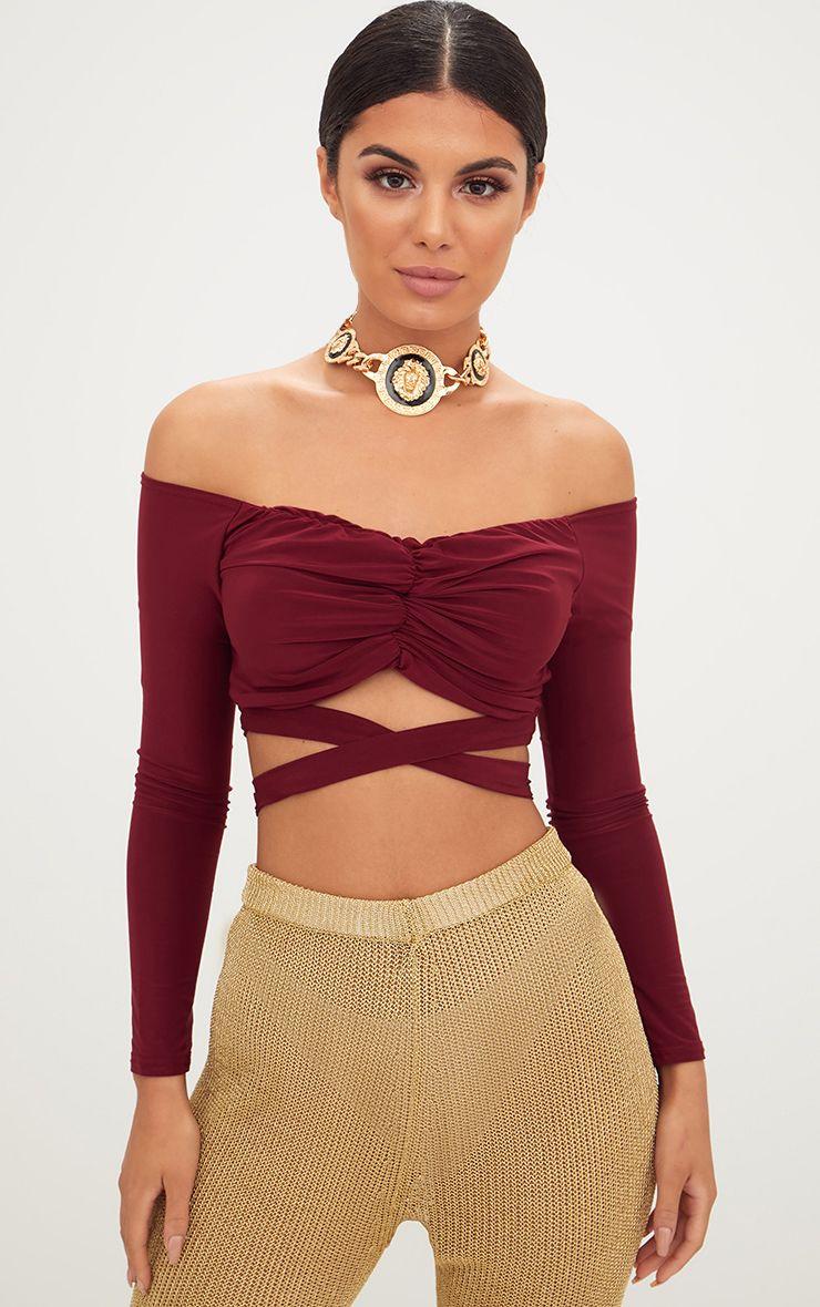 Deep Berry Slinky Ruched Front Tie Bardot Crop Top