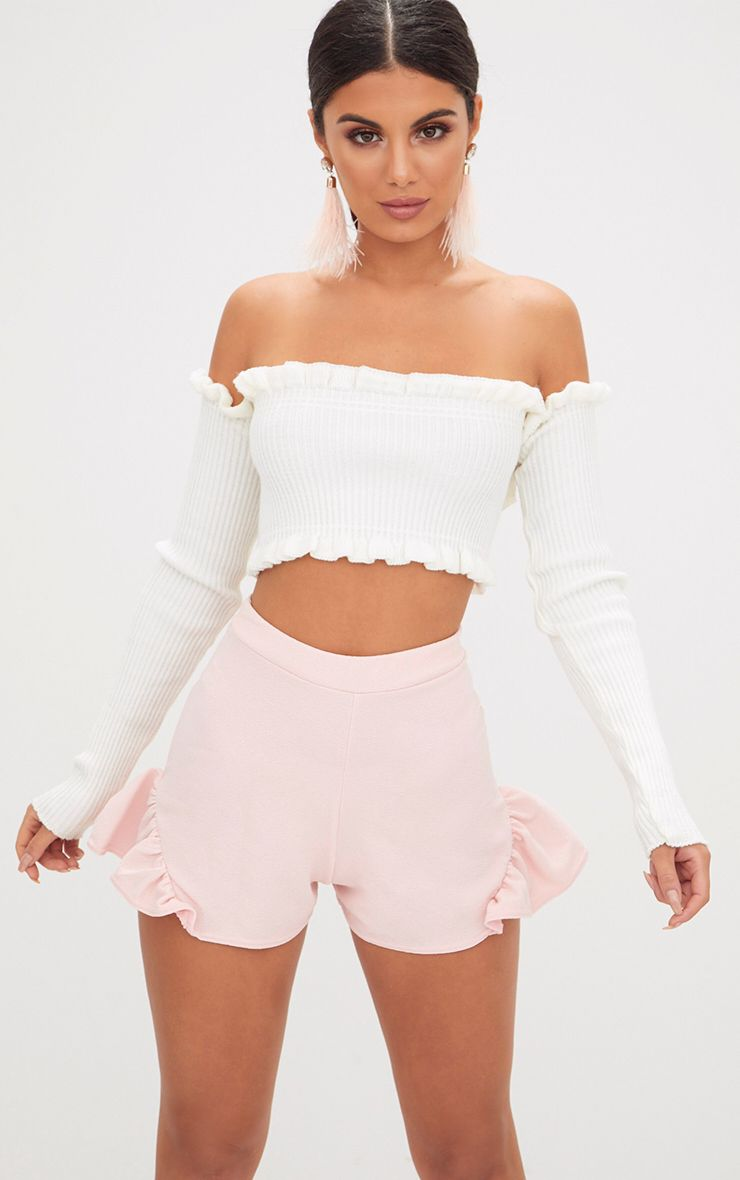 Light Pink Flare Frill Shorts
