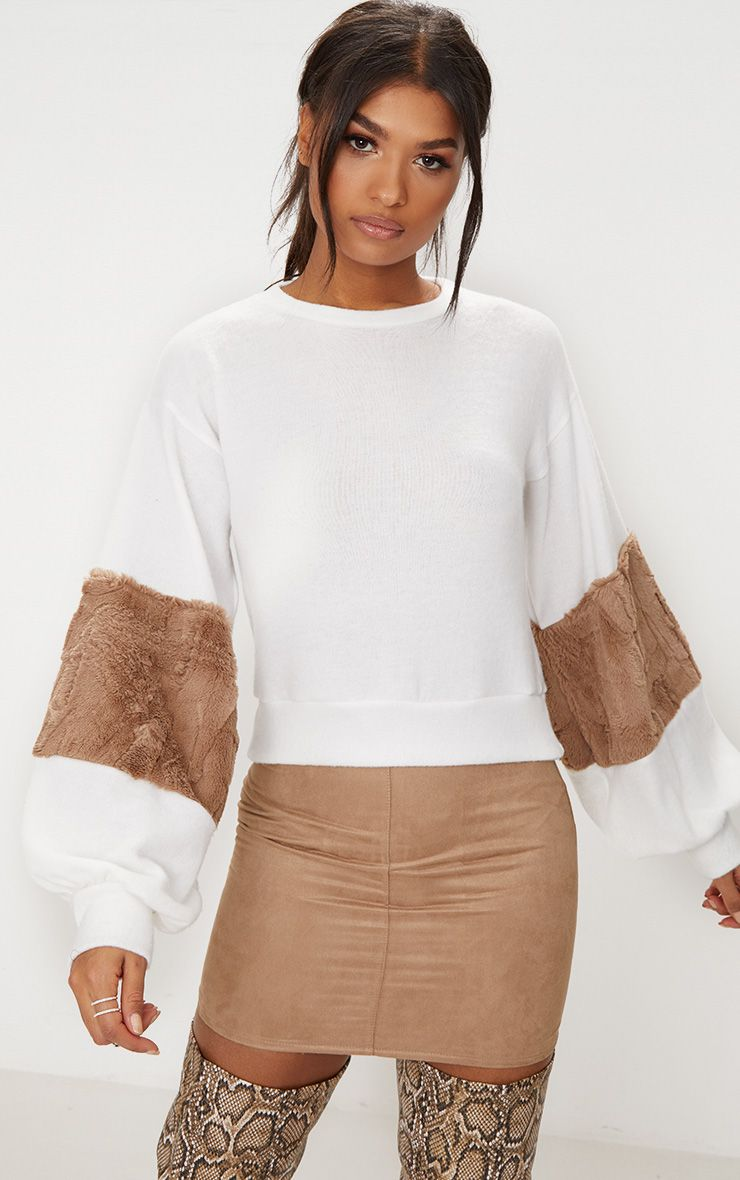 Mocha Faux Fur Sleeve Sweater