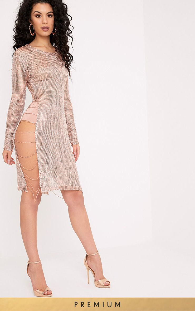 Lilianna Rose Gold Premium Metallic Knitted Sheer Chain Mini Dress
