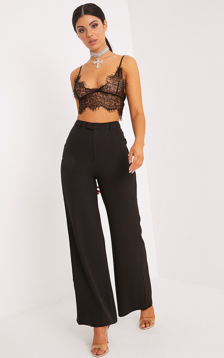 Reemah Black Wide Leg Crepe Trousers