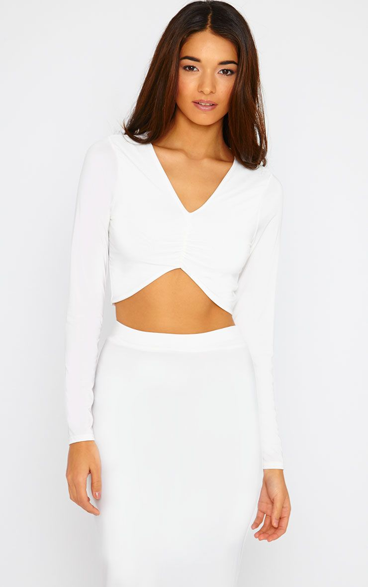 Maizie Cream Slinky Ruched Crop Top 1