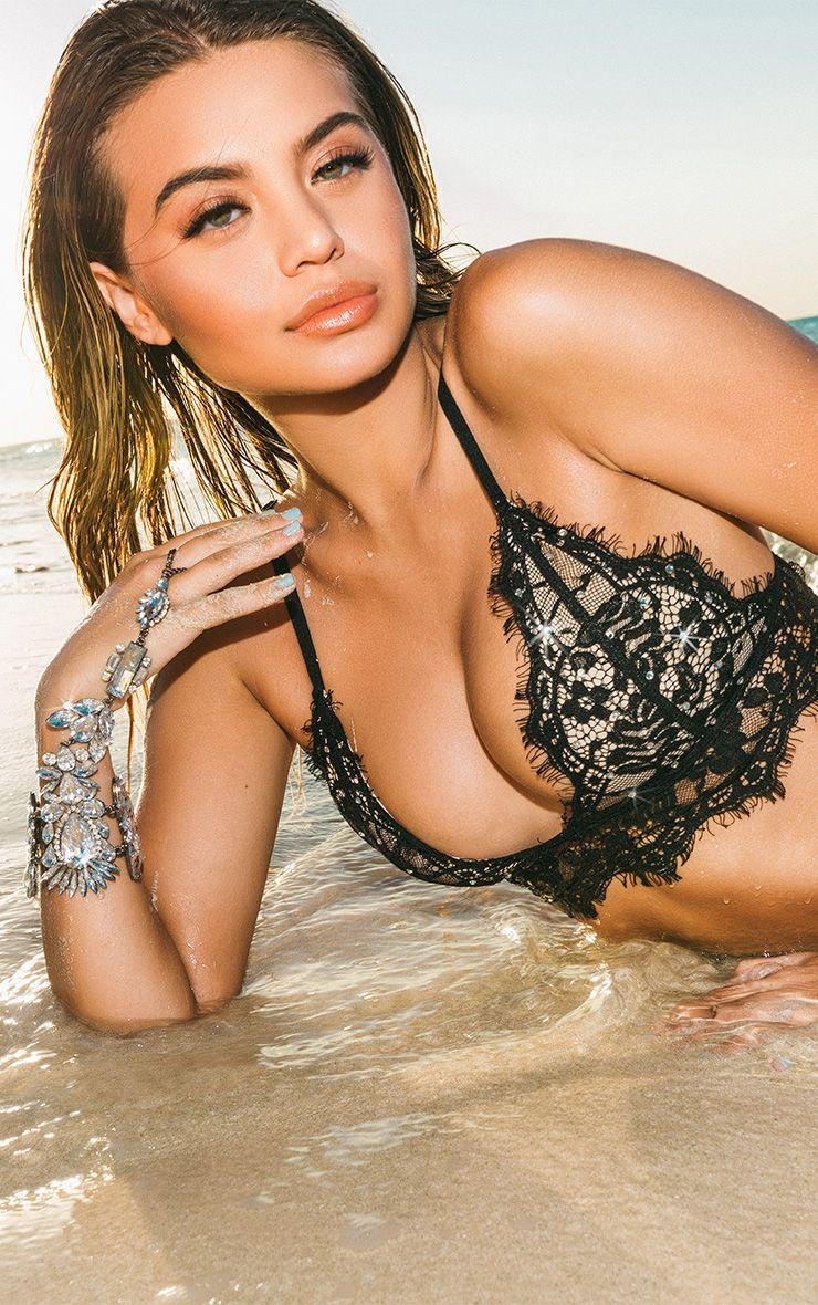 Premium Black Lace Diamante Stud Bikini Top