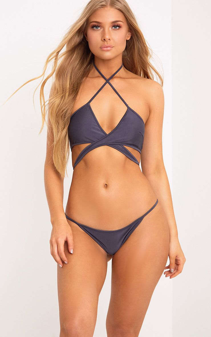 Halley Grey Wrap around Bikini Top