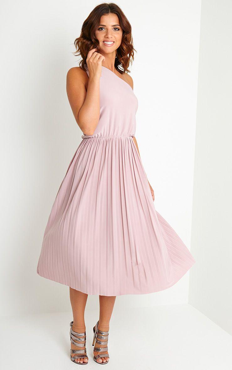 Carey Mauve One Shoulder Pleated Dress 1