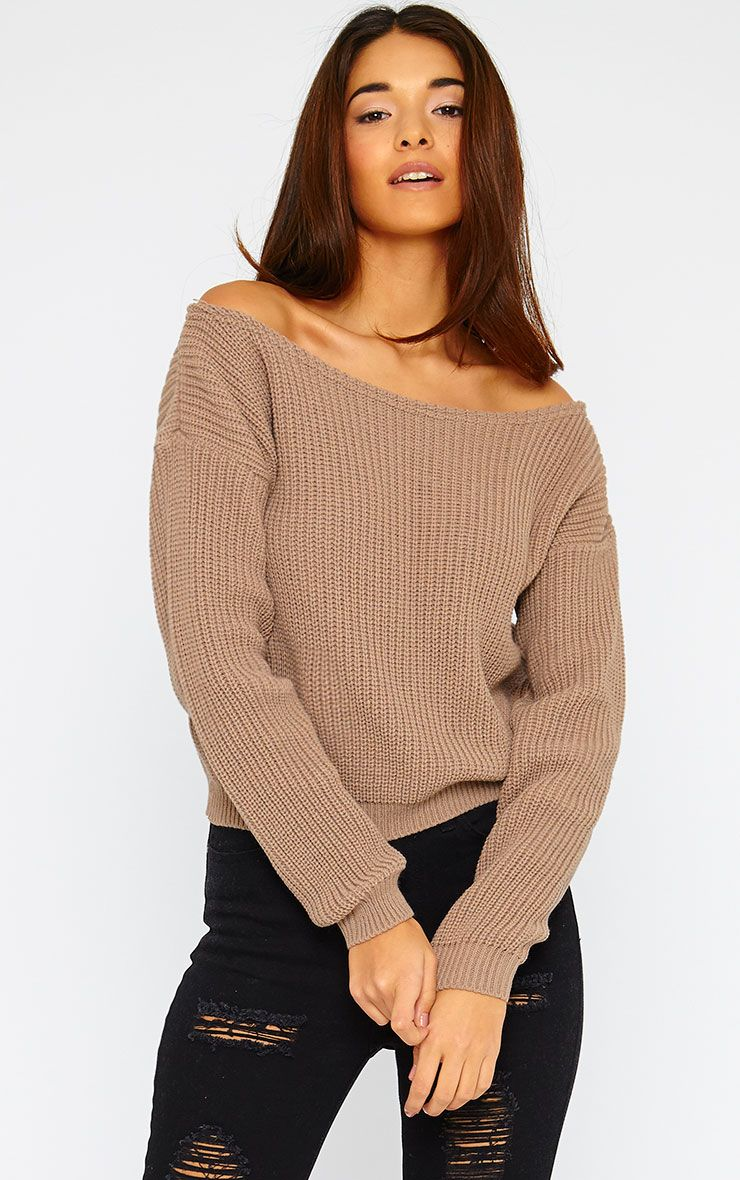 Rosalina Mocha Off The Shoulder Crop Jumper 1