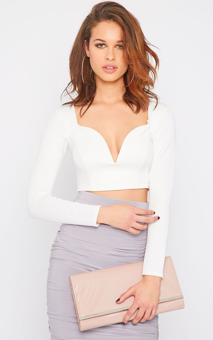 Honi White Sweetheart Scuba Crop Top 1