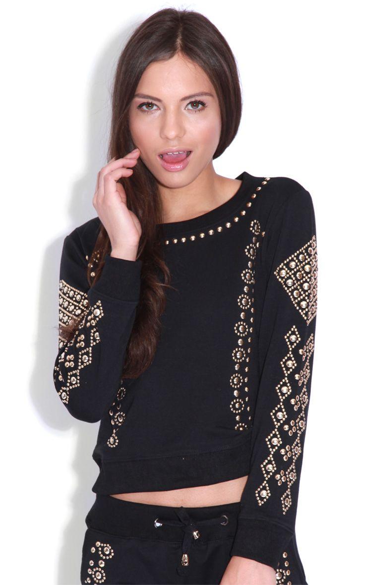 Yasmin Black Embellished Sweat Jumper-S 1