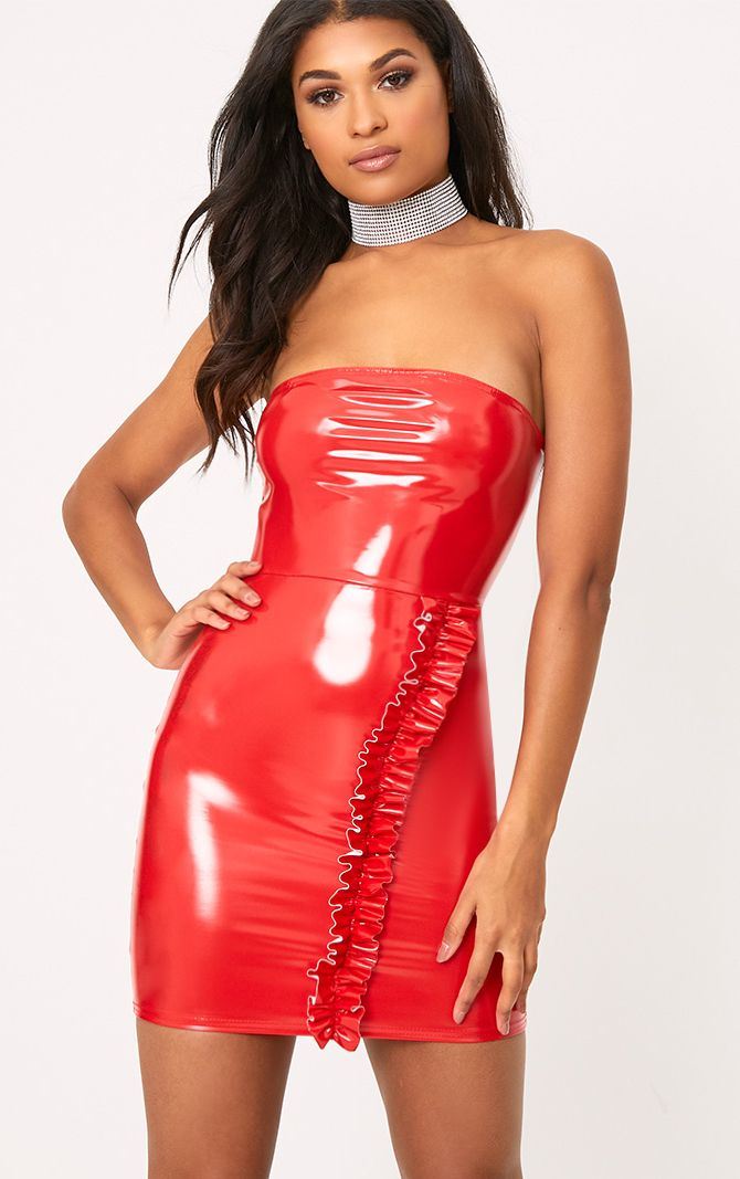 Red High Shine PU Frill Bandeau Bodycon Dress