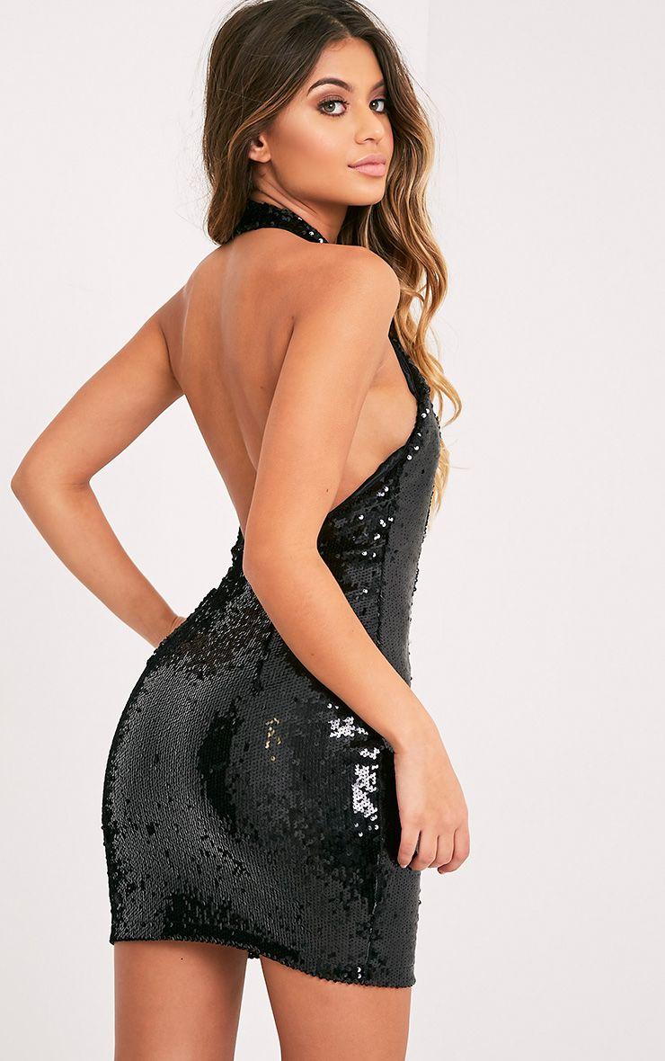 Nickie Black High Neck Sequin Bodycon Dress