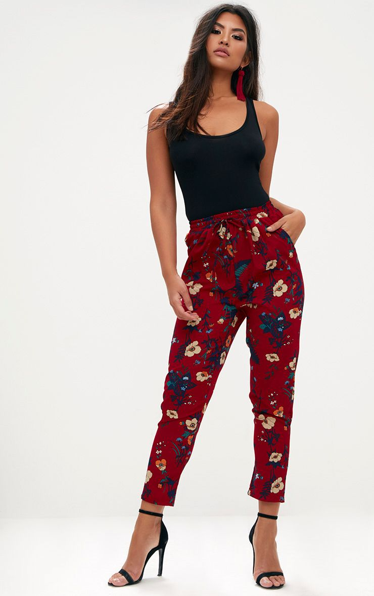 Burgundy Floral Print Casual Trousers