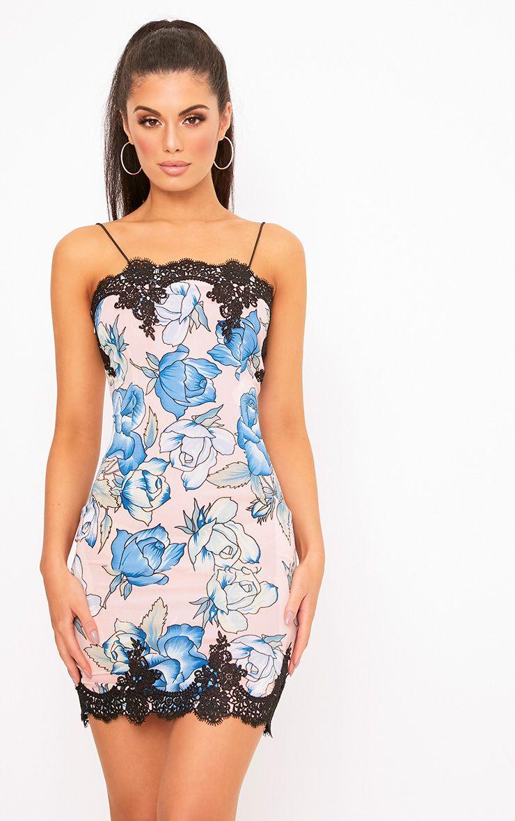 Ethel Pink Lace Trim Floral Bodycon Dress