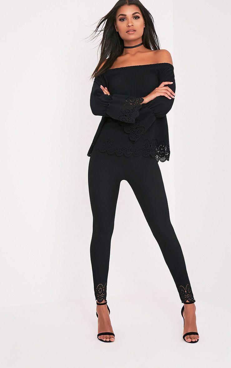 Anisa Black Laser Cut Skinny Trousers 1