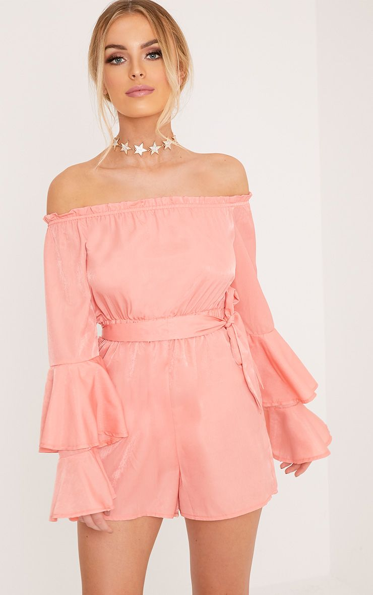 Jess Pink Bardot Bell Sleeve Belted Playsuit