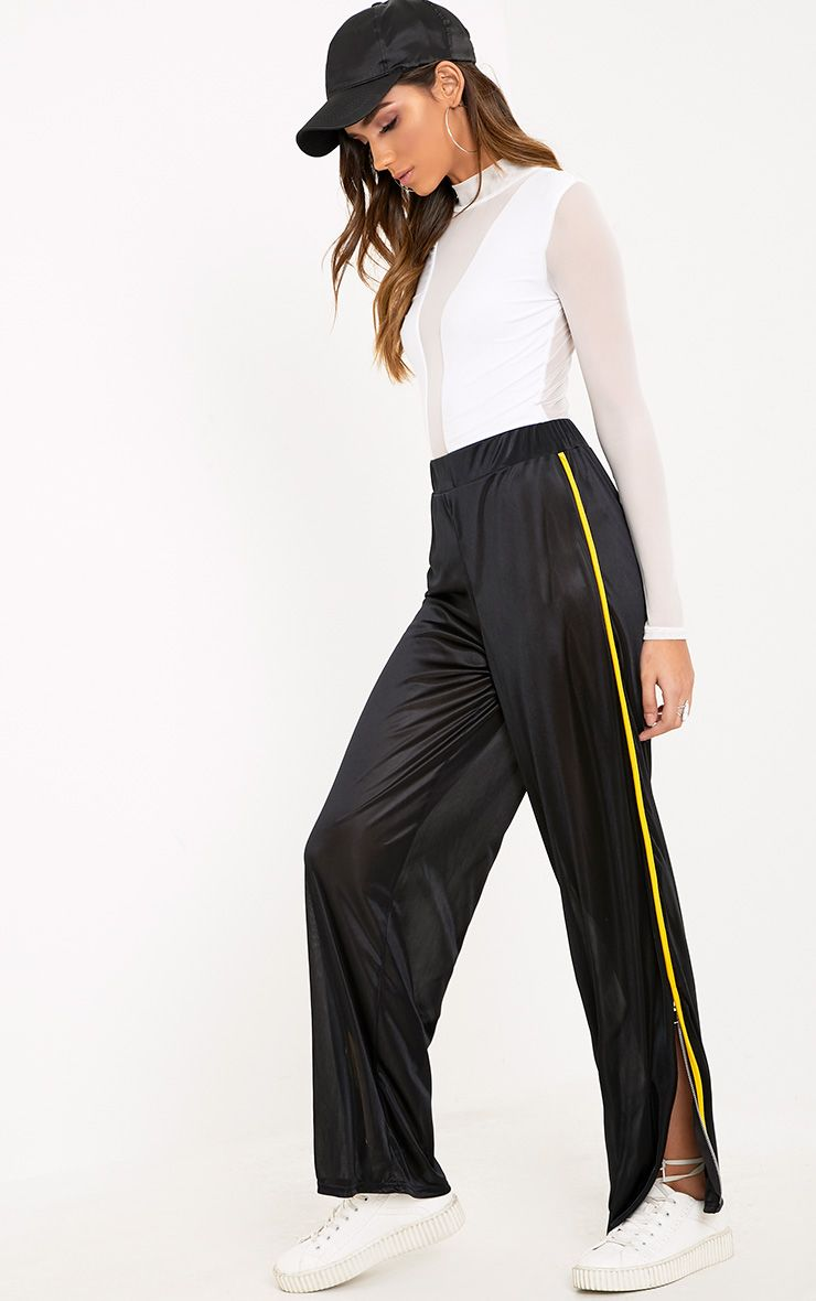 Karlotta Black Sheer Zip Wide Leg Track Pants
