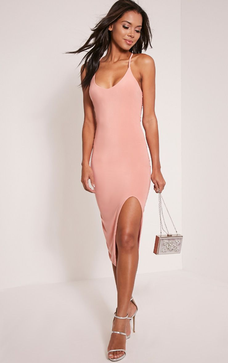 Rakel Dusty Pink Cross Back Split Midi Dress 1