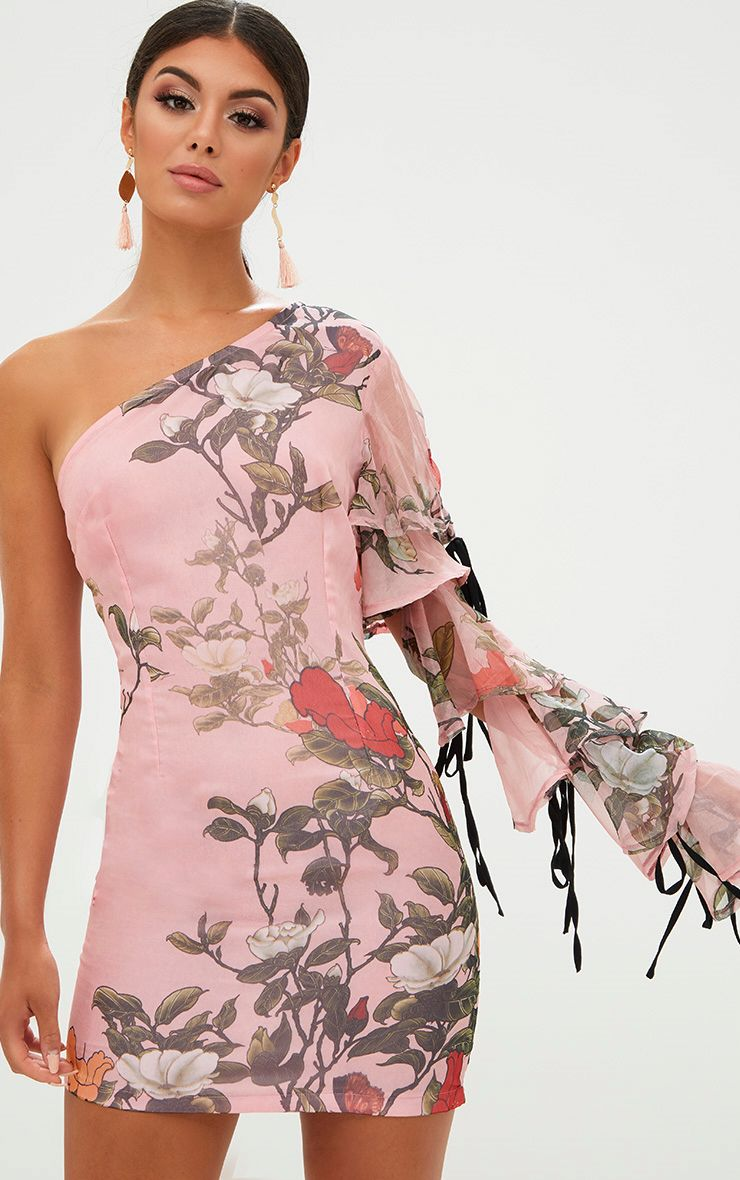 Pink Floral One Shoulder Tie Detail Bodycon Dress