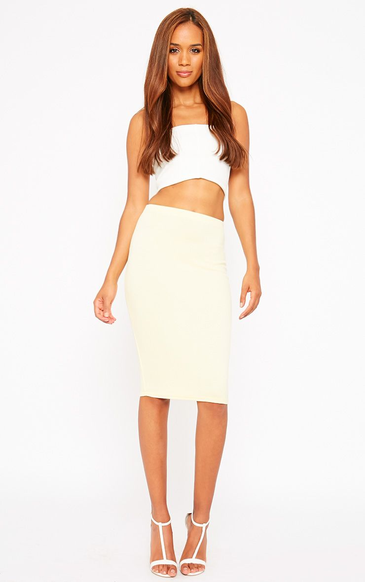 Winnie Lemon Scuba Midi Skirt 1