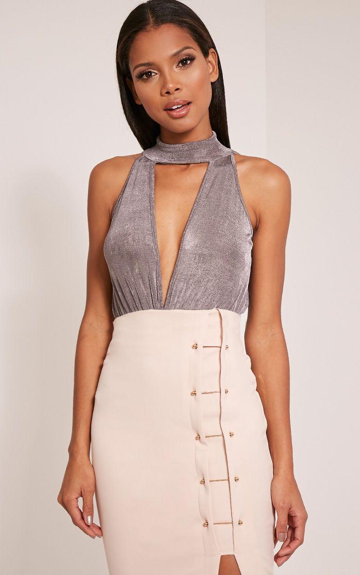 Mary Grey Choker Slinky Plunge Bodysuit 1