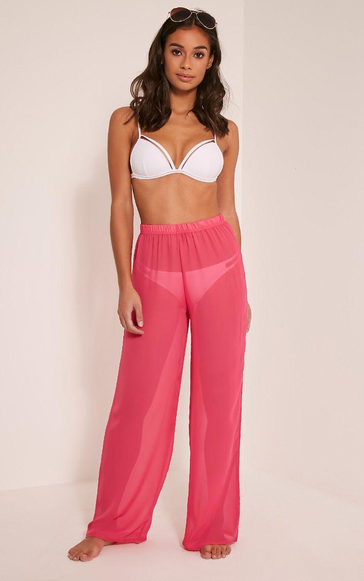 Ashlyne Hot Pink Chiffon Beach Trousers 1