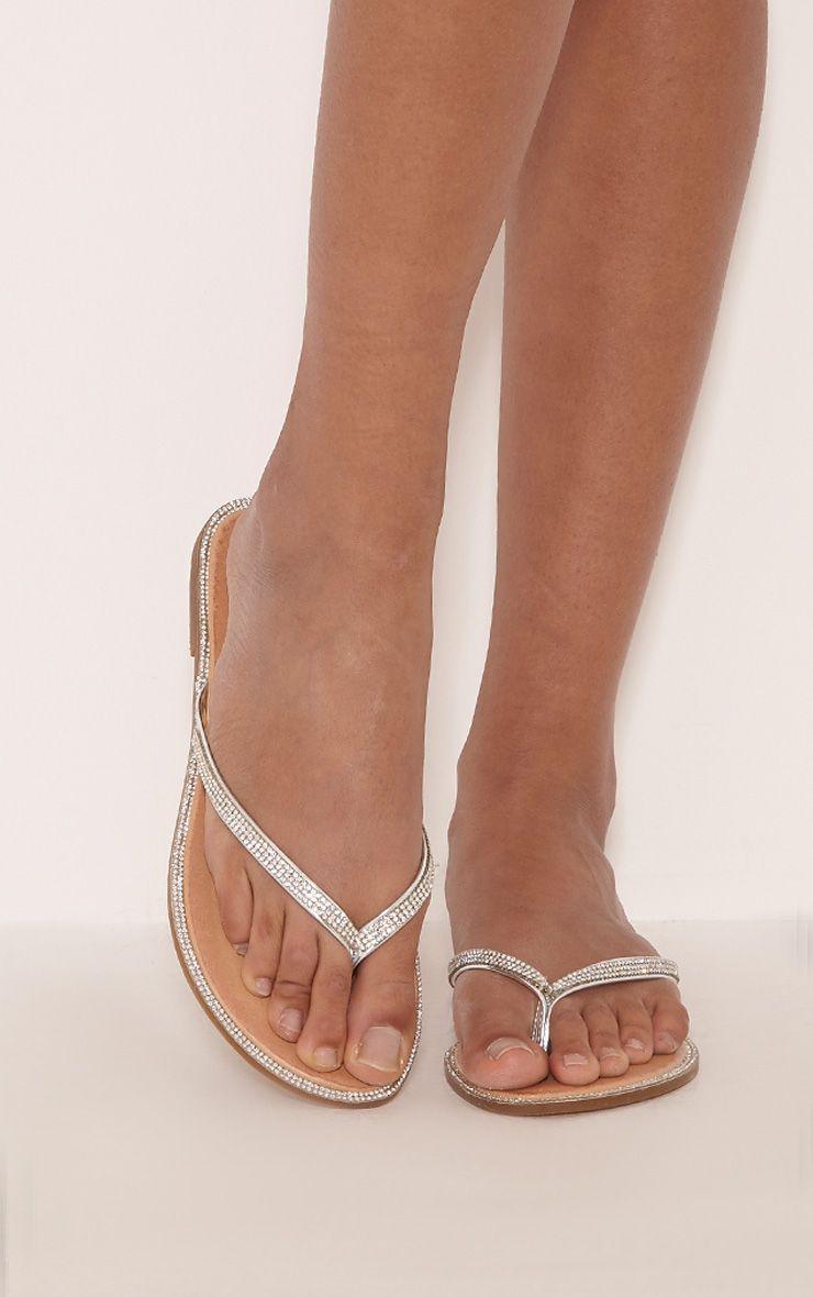 Ashlea Silver Diamante Flip Flops