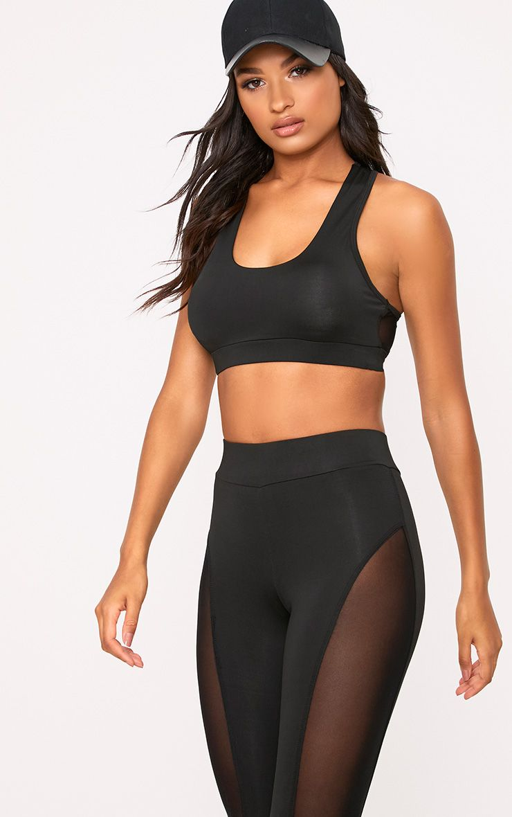Saskia Black Mesh Back Crop Top