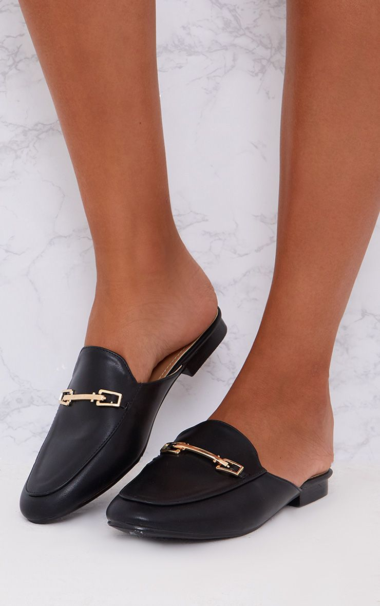 Black Faux Leather Mules
