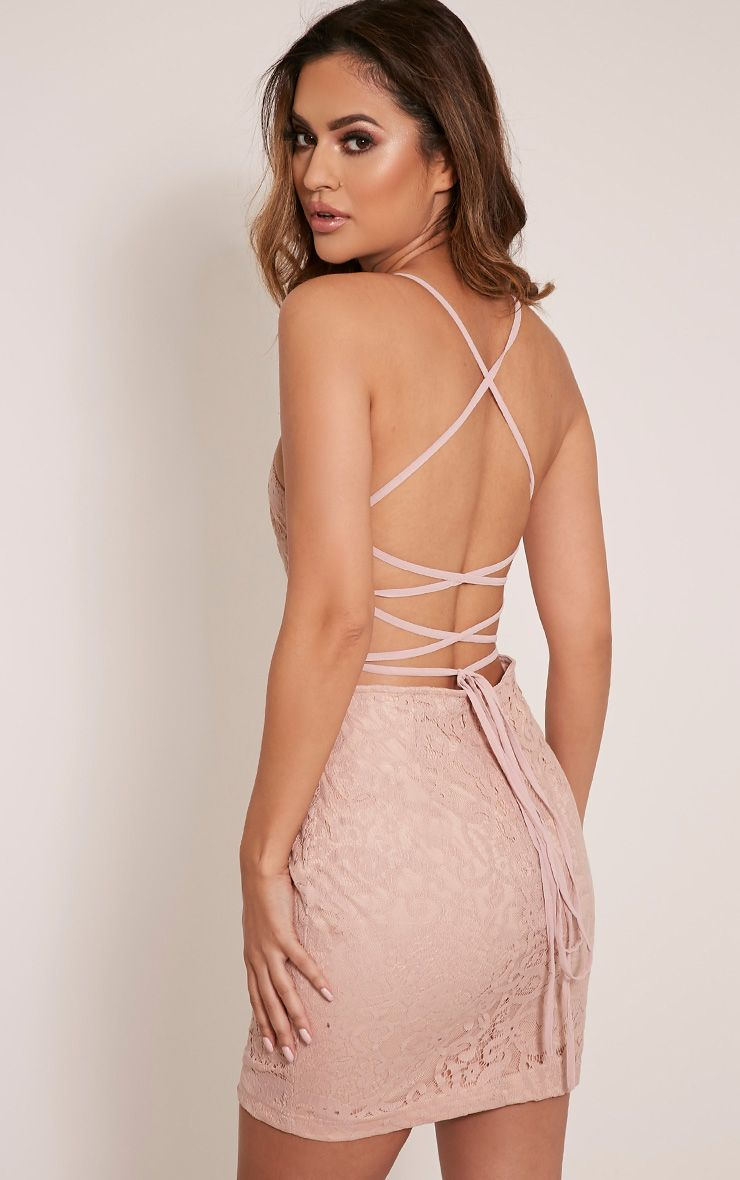 Karissa Baby Pink Lace Up Back Lace Bodycon Dress 1