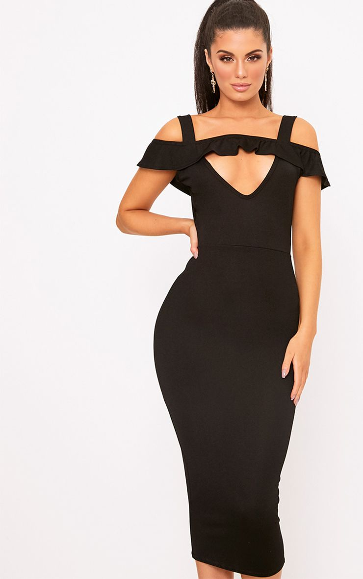 Black Cold Shoulder Tie Back Midi Dress