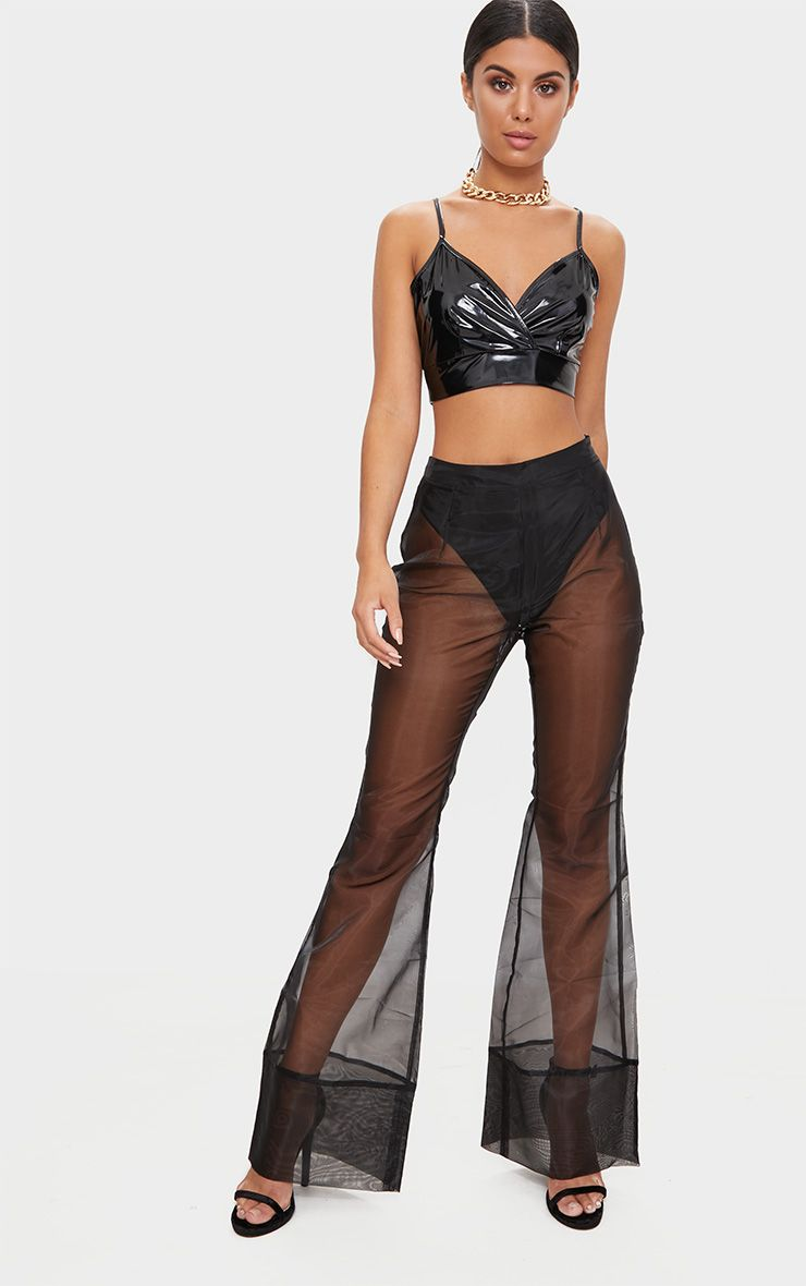 Product photo of Black organza flared trousers black