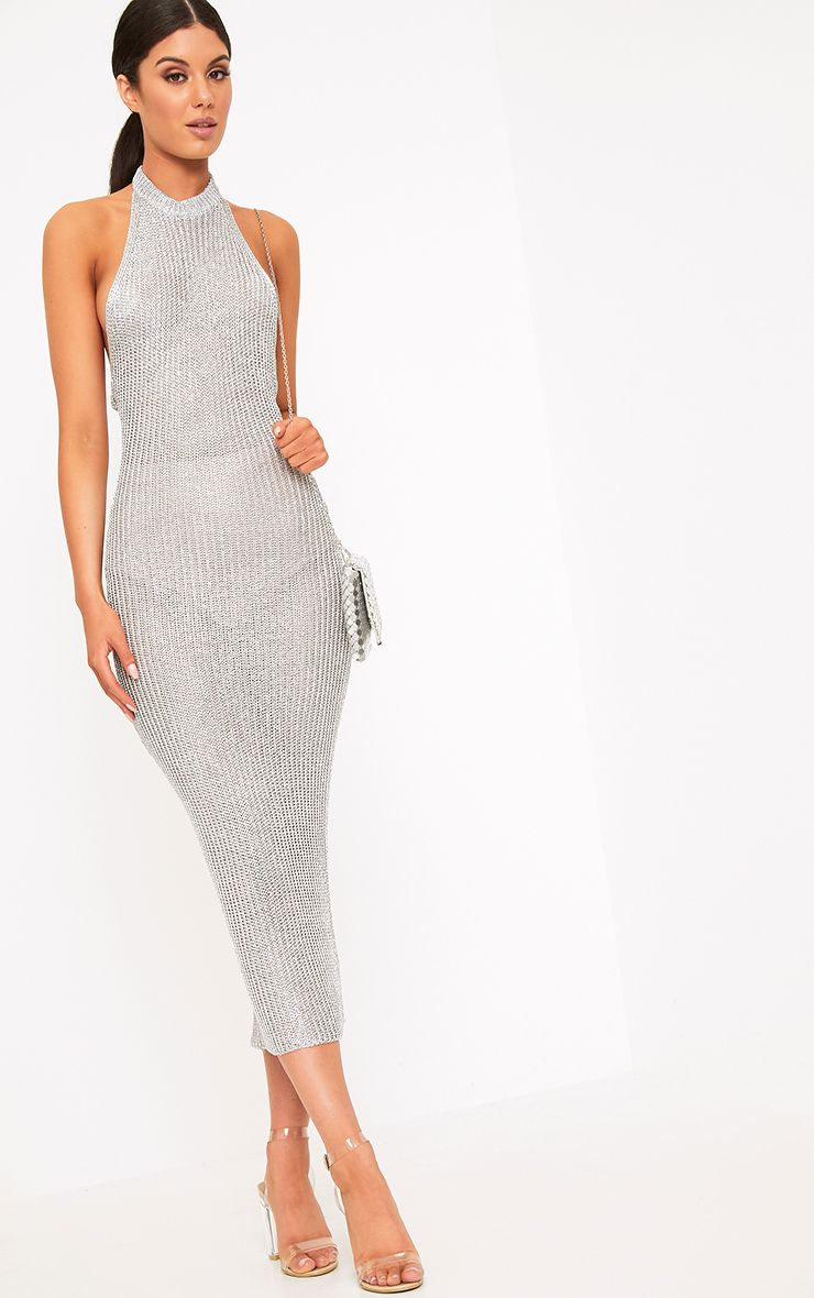 Faizah Silver Metallic Halterneck Midi Dress