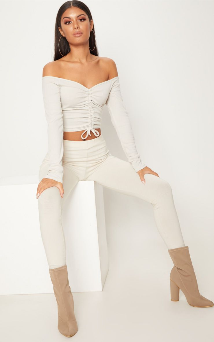 Oatmeal Rib Ruched Front Long Sleeve Bardot Crop Top