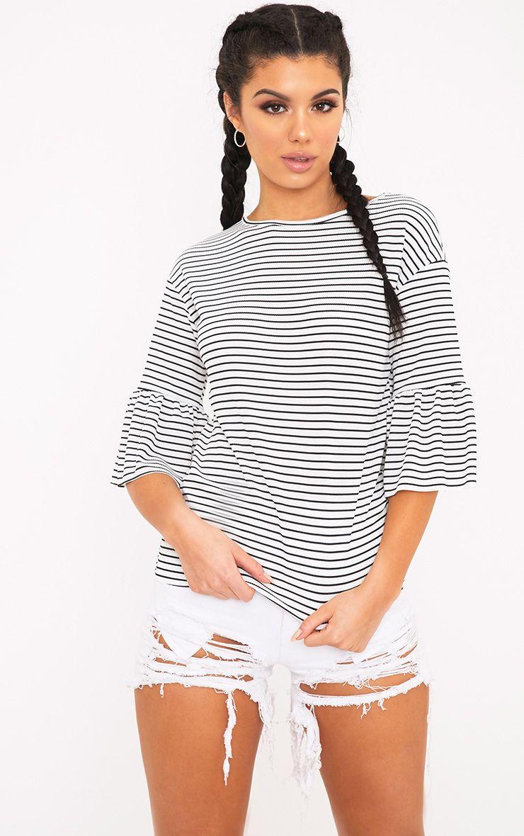 Odelle White Frill Sleeve Stripe Jersey T-Shirt
