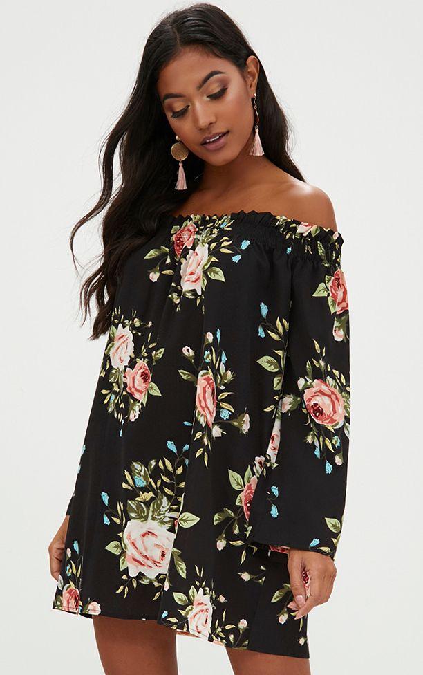 Robe droite Bardot manches longues imprimé floral