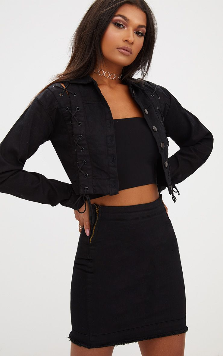 Cropped black jean jacket photo advise dress for spring in 2019