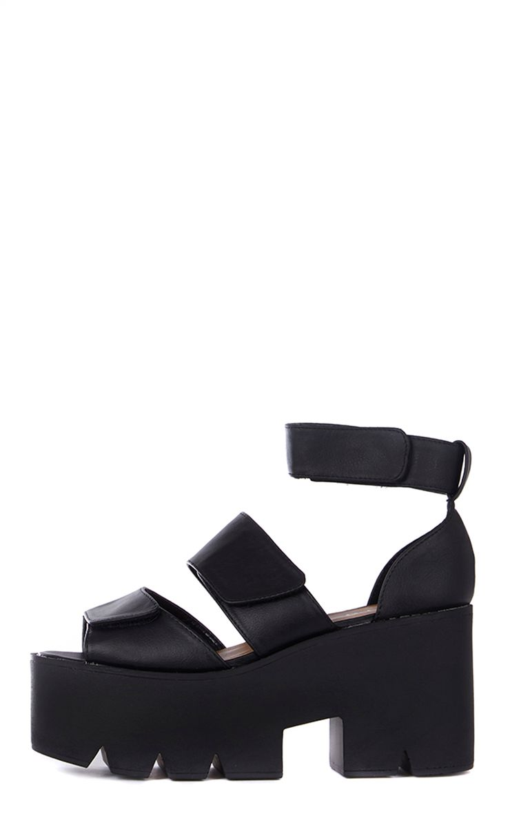 Anna Black Cleated Sole Flatform Velcro Sandals 1
