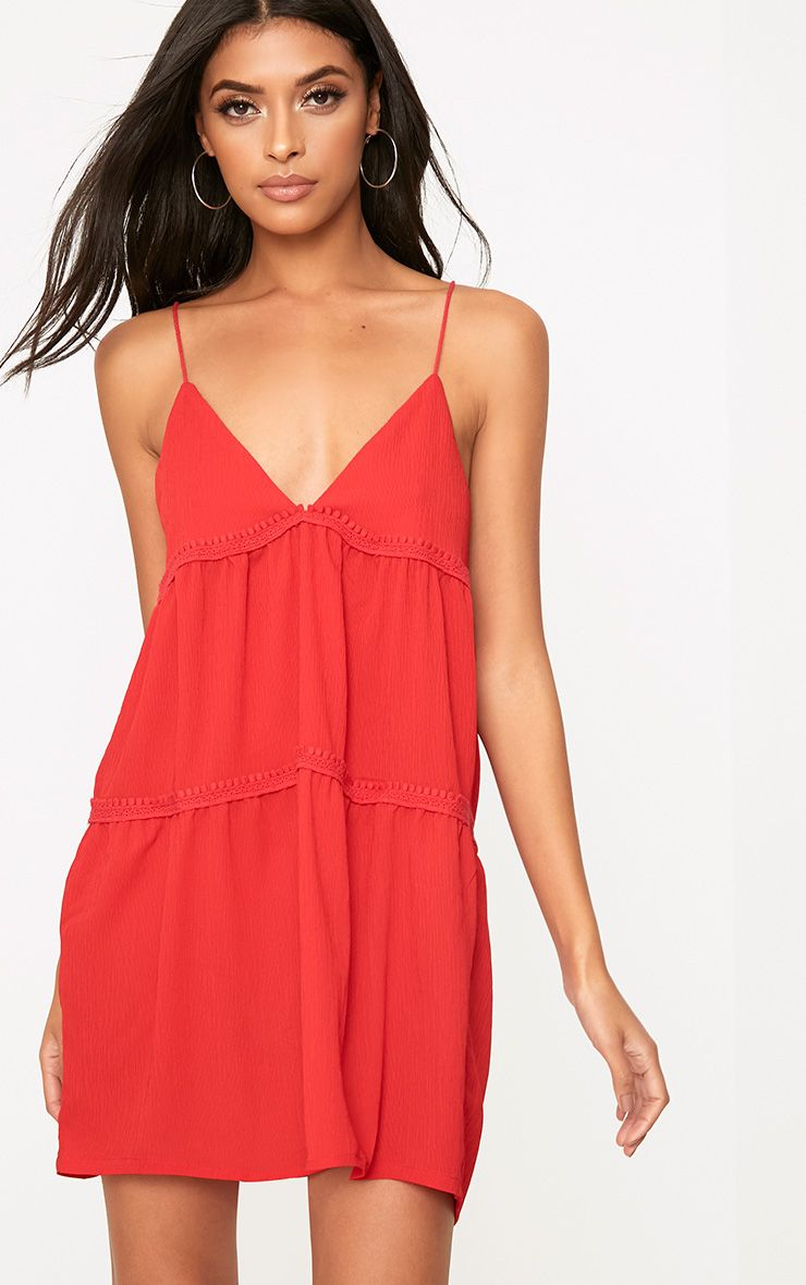 Red Cheese Cloth Strappy Frill Shift Dress