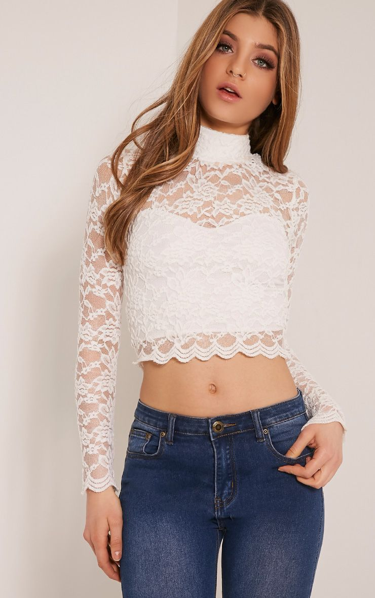 Elsa White Lace Long Sleeved Crop Top 1