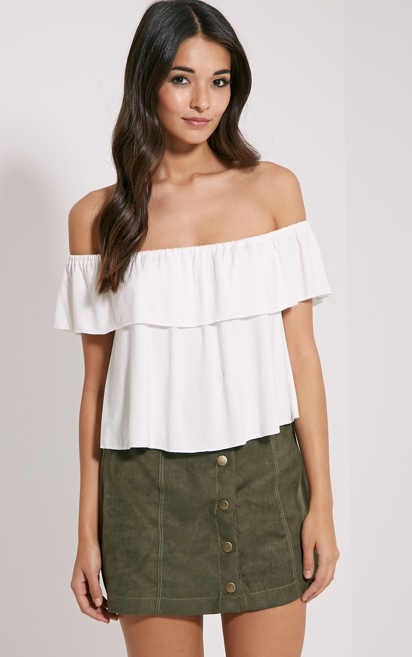 Alice Cream Bardot Frill Jersey Crop Top