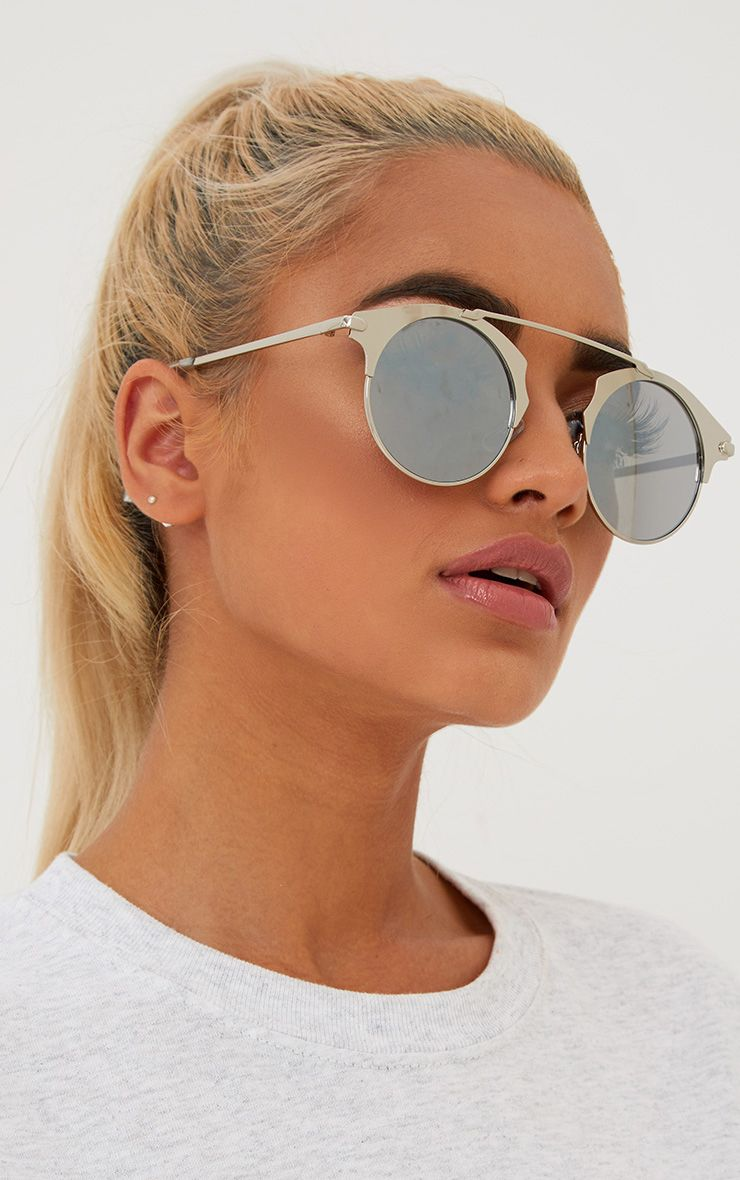 Silver Curved Top Bar Sunglasses