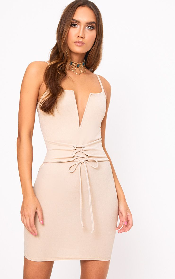 Nude Strappy V Plunge Corset Detail Bodycon Dress