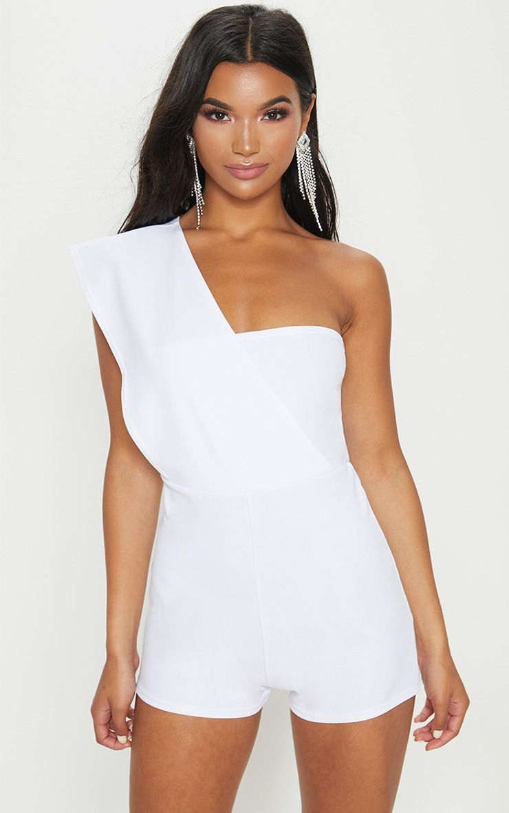 White Drape One Shoulder Playsuit