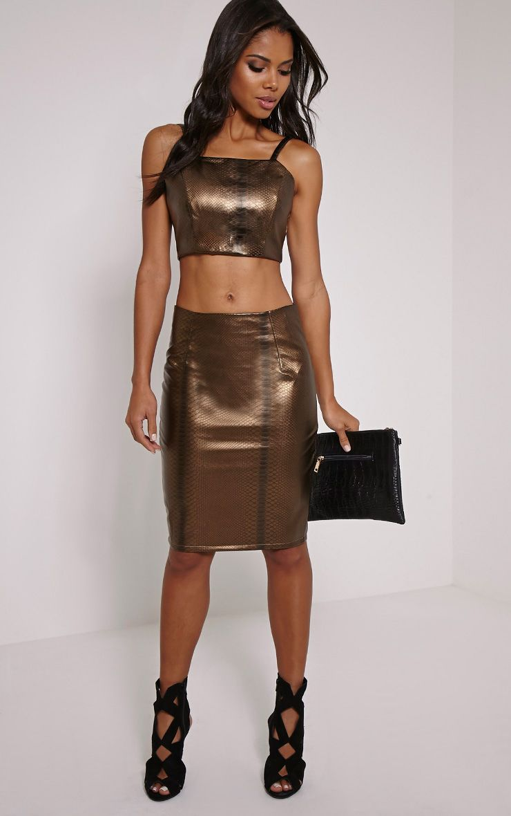 Mollie Gold Snake Print Faux Leather Midi Skirt 1